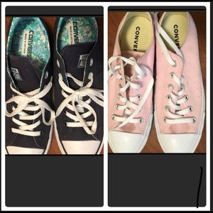 2 PAIR converse pink are new, blue worn once